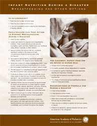 Infant Nutrition During a Disaster Brochure